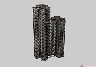 小区?#34121;?#20303;宅高层建筑楼设计su模型