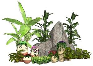 假山石头芭蕉植物花盆花钵SU(草图大师)模型