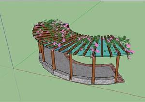 休闲玻璃花架设计SU(草图大师)模型