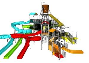儿童乐园滑梯水寨滑梯组合SU(草图大师)模型