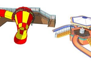 主题乐园水公园小喇叭滑梯游乐设施SU(草图大师)模型