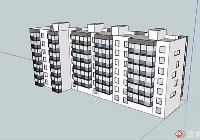 多层住宅居住详细设计su模型