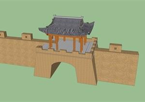 仿古城墙节点设计SU(草图大师)模型