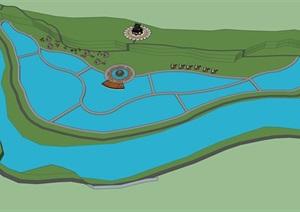 景观荷塘规划设计SU(草图大师)模型