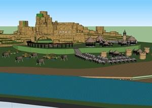 儿童沙滩王国设计SU(草图大师)模型