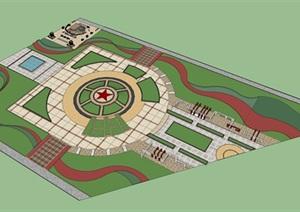 红色纪念文化广场SU(草图大师)模型