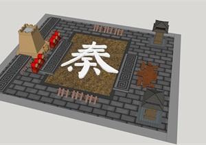 秦文化广场设计SU(草图大师)模型