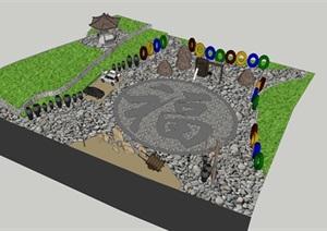 乡村创意文化广场SU(草图大师)模型
