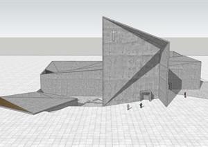 异形雕塑式几何切割形体创意小型教堂宗教建筑