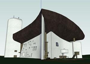 勒柯布西耶大师经典作品朗香教堂案例分析SU(草图大师) CAD ppt