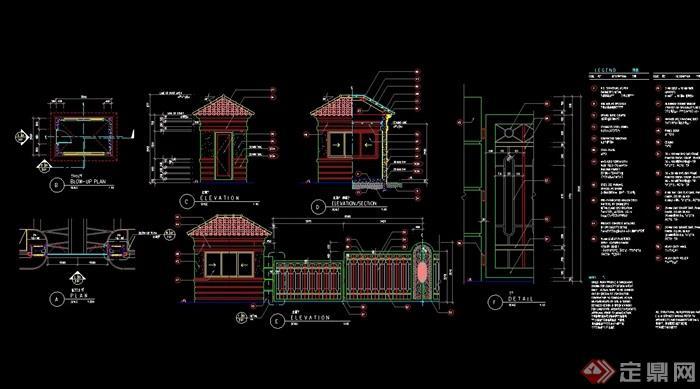 欧式风格详细大门v风格cad施工图英文版建筑cad学习教程图片