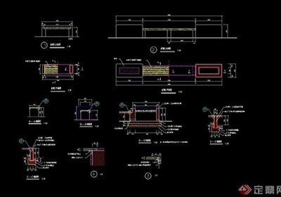现代详细的园林景观坐凳设计cad施工图