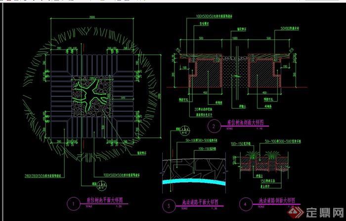 详细的含坐凳树池设计cad施工图