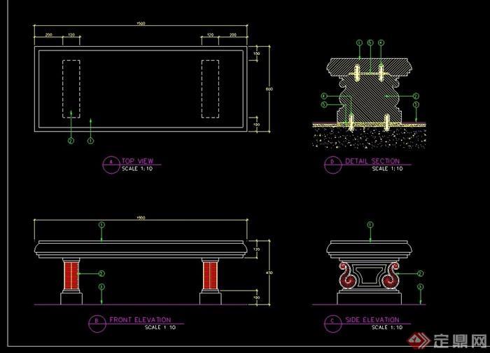 园林景观石凳设计cad施工图