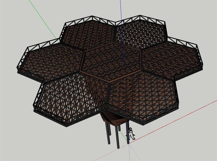参数化钢木构筑物扭转六边形蜂巢景观亭(2)