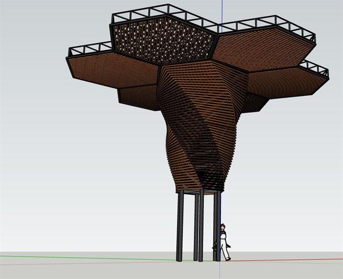 参数化钢木构筑物扭转六边形蜂巢景观亭(3)