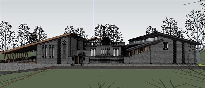 钢木构斜坡屋顶中式禅意游客服务活动中心乡村旅游民宿(1)