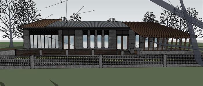 钢木构斜坡屋顶中式禅意游客服务活动中心乡村旅游民宿(3)