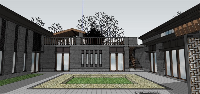 钢木构斜坡屋顶中式禅意游客服务活动中心乡村旅游民宿(4)