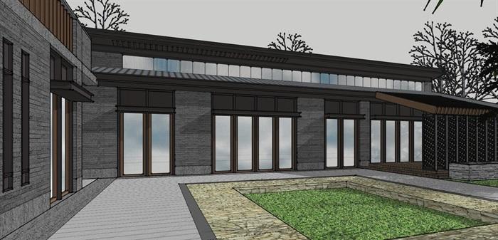 钢木构斜坡屋顶中式禅意游客服务活动中心乡村旅游民宿(5)