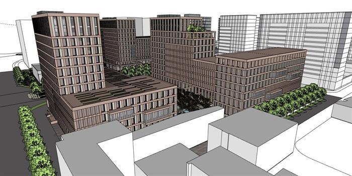 简洁体块韵律式窗洞表皮红砖办公楼创业产业园区组团(4)