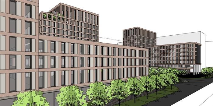 简洁体块韵律式窗洞表皮红砖办公楼创业产业园区组团(5)