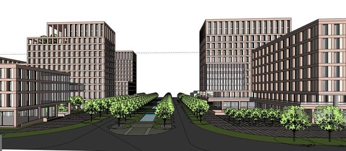 简洁体块韵律式窗洞表皮红砖办公楼创业产业园区组团(6)