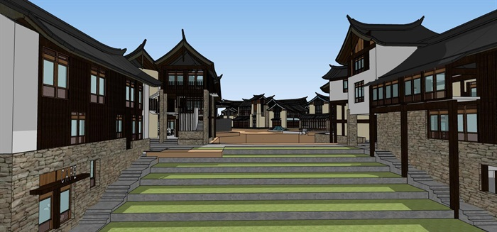 平行四边形基地中式仿古温泉水系水上旅游度假小镇商业组团风情步行街(3)
