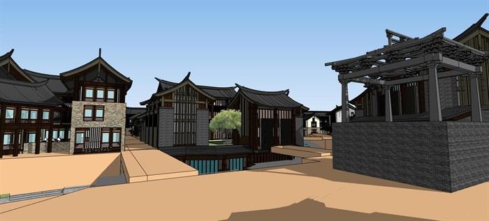 平行四边形基地中式仿古温泉水系水上旅游度假小镇商业组团风情步行街(5)