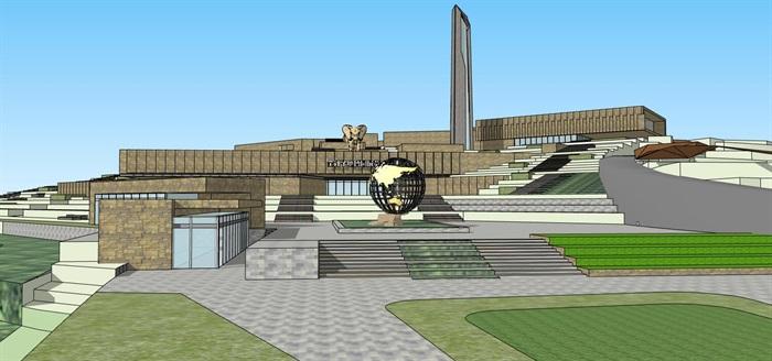 山地高差几何雕塑式展览建筑地质博物展览文化公园(1)