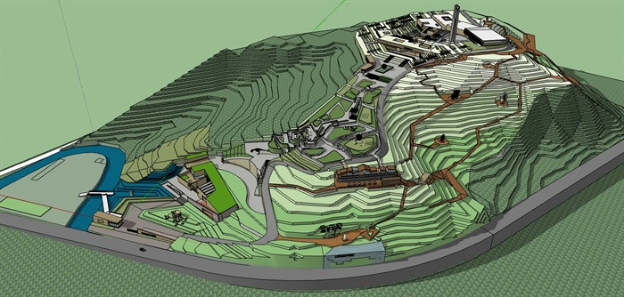 山地高差几何雕塑式展览建筑地质博物展览文化公园(2)