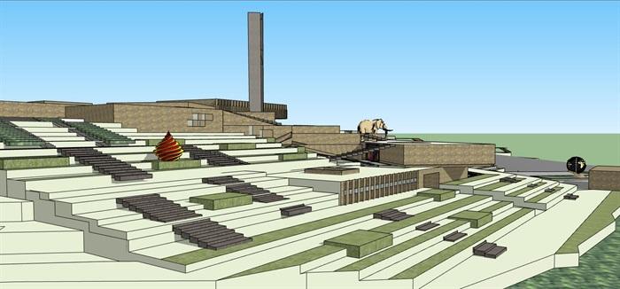 山地高差几何雕塑式展览建筑地质博物展览文化公园(7)