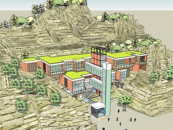 悬崖上的特色山地度假住宿旅馆酒店民宿群(6)