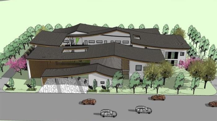 中式创意曲面连续坡屋顶木格栅不规则窗洞表皮幼儿园中小学校校园建筑(1)