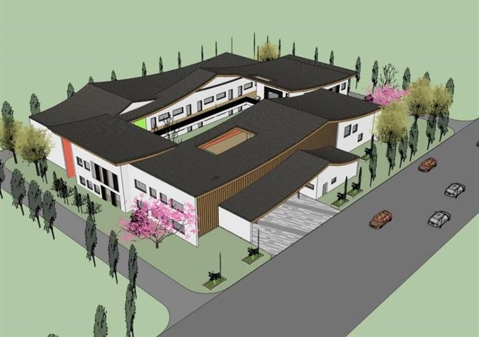 中式创意曲面连续坡屋顶木格栅不规则窗洞表皮幼儿园中小学校校园建筑(2)