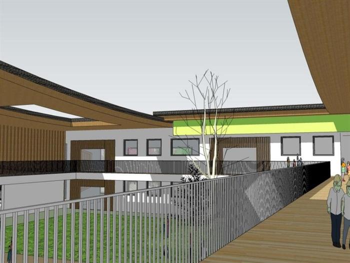 中式创意曲面连续坡屋顶木格栅不规则窗洞表皮幼儿园中小学校校园建筑(3)