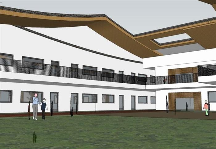 中式创意曲面连续坡屋顶木格栅不规则窗洞表皮幼儿园中小学校校园建筑(4)