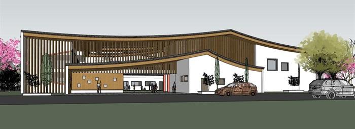 中式创意曲面连续坡屋顶木格栅不规则窗洞表皮幼儿园中小学校校园建筑(6)