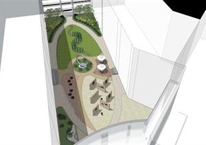 校园广场景观设计SU(草图大师)方案模型