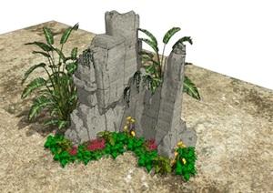 石头假山植物旅人蕉SU(草图大师)模型