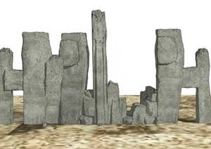 假山石头叠石组合SU(草图大师)模型
