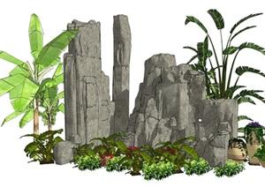 叠石假山植物芭蕉SU(草图大师)模型