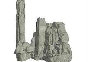 假山叠石石头造景SU(草图大师)模型