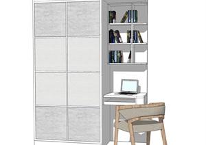 现代简约衣柜 电脑桌SU(草图大师)模型