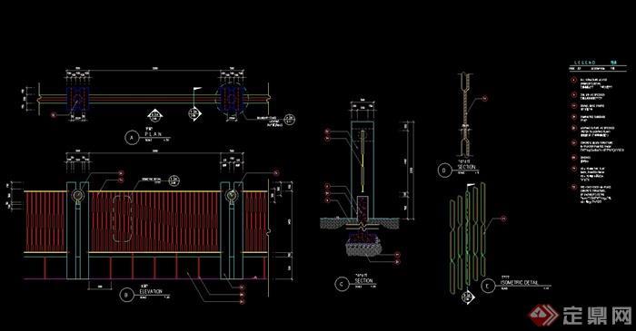 详细完整的动态cad施工图英文版cad怎么用阵列块围墙的图片