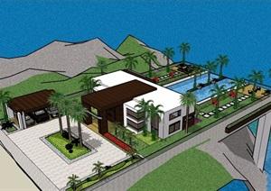 滨海别墅详细设计SU(草图大师)模型含庭院
