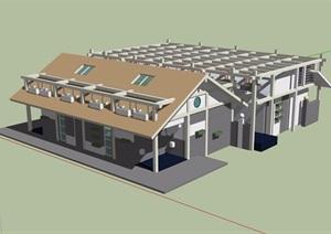 欧式造型独特的别墅设计SU(草图大师)模型