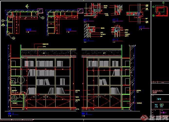 corner of the study] 書房轉角書柜設計詳圖,包括別墅立面圖,平面圖圖片