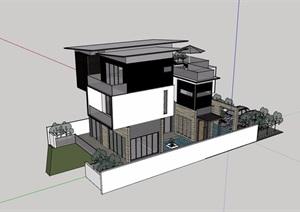三层现代私人别墅建筑SU(草图大师)模型