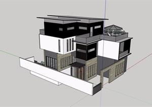 现代三层住宅详细的别墅建筑SU(草图大师)模型